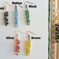 Long beaded Chain maille earrings ( Statement dangling earrings)