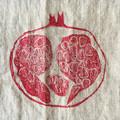 linen table runner pomegranate | block printed, stonewashed, handprinted