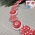 CHRISTMAS - Red and White Spots - Button Necklace and Earrings