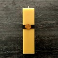 Art deco/Art nouveau home decor square pillar beeswax candle. 1920S, 1930s style