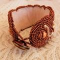 Beaded Bracelet Cuff in Copper Bronze