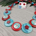 CHRISTMAS - Snowman Baubles - Button Necklace and Earrings
