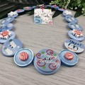 CHRISTMAS - Happy Holidays - Button Necklace and Earrings
