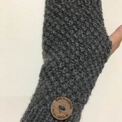Grey Handwarmers mens or ladies texting gloves knitted