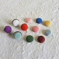 Small round Kimono stud earrings ( Blue Red Green Purple White Brown Yellow Pink