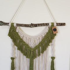 Large Macrame wall hanging in pistachio and cream