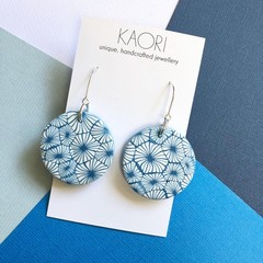 Polymer clay earrings, statement earrings in white and blue floral