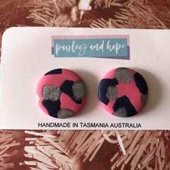 Pink, navy & silver glitter statement studs - CLEARANCE 4 for $20