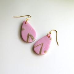 Tiny Pink and Gold Stripe Teardrops