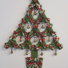 XMAS TREE ORNAMENT - Folded Fabric with Bells and Beads Christmas Tree