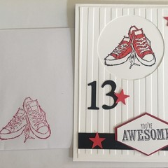 13h kids teenager birthday Handmade Card - FREE POSTAGE