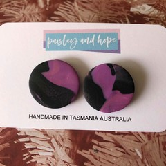Purple and black statement studs - CLEARANCE 4 for $20