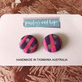 Pink, purple & silver statement studs - Choose shape - CLEARANCE 4 for $20