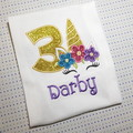 Unicorn Birthday Tee Shirt, with age and personalised with name