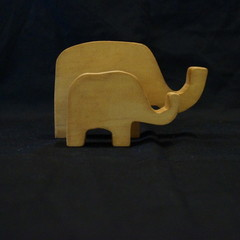 Wooden elephant duo