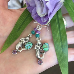 925 Mermaid Paua Shell Gemstone Earrings,