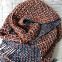 Wool Blend Scarf, Handwoven, Copper / Denim Blue