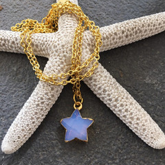Star Necklace with Lavender Chalcedony