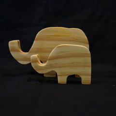 Wooden elephant duo natural
