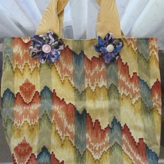 CARRY / TOTE BAG - Fully Lined and Decorated with Fabric Flowers