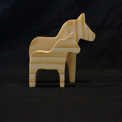 Wooden horse duo natural
