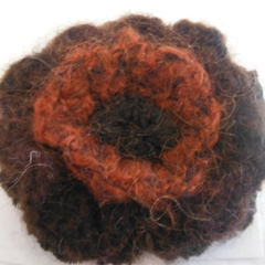 Crocheted hair clip made from mohair blend yarn. Burgundy and brown ON SALE!!!!