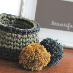 Crochet basket - khaki green + denim.