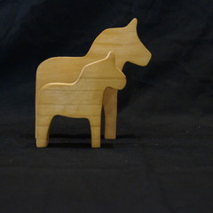 Wooden horse duo