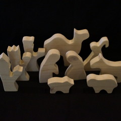 White wash 10 piece wooden nativity set