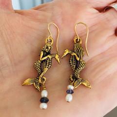 Mermaid Seahorse Gemstone Earrings