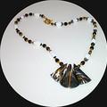 Turkey turquoise, jade, glass,bronze necklace