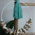 driftwood wreath with tassel wall art