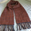 Handwoven Hand Dyed Wool Scarf, Copper / Denim Blue