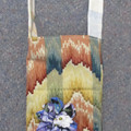 BOTTLE BAG Fully Lined with Fabric Flowers and Over the Shoulder Strap