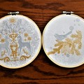 Christmas embroidered reindeer hoop art,wall hanging, gold and silver on white,