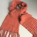 Handwoven Wool Scarf,  Hand Dyed Terracotta / Copper