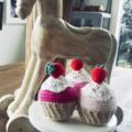 Set of 3 cupcakes Pretend Play Food Shop Room Decor Christmas gift