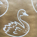 Handprinted wrapping paper| swan, Christmas gift wrap, holiday gift wrap
