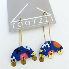 'Calypso' Statement Dangles in Electric Blue with Brass Charms