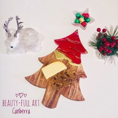 Red and Gold Christmas Serving Board, Table Centrepiece