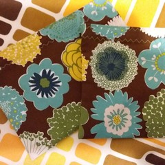 Handy Bags- Funky floral print on brown