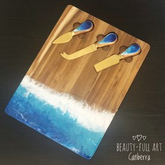 Ocean Resin Art Cheeseboard with Knives