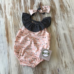 Ruffle bubble romper  + matching knot Headband - Dashing Hounds