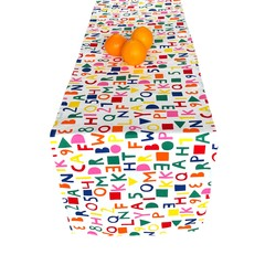 Alphabet Print Cotton Table Runner. Family Gifts.