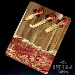Red and Gold Resin Art Cheeseboard with Knives