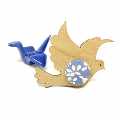 Kimono Dove Brooch - Blue