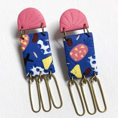 'Calypso' Statement Stud-drop Earrings in Electric Blue