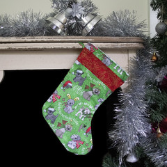 Christmas stocking with dog print