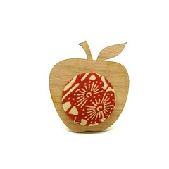 Apple Brooch - Red Floral