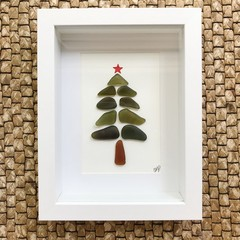 Sea glass Christmas tree art